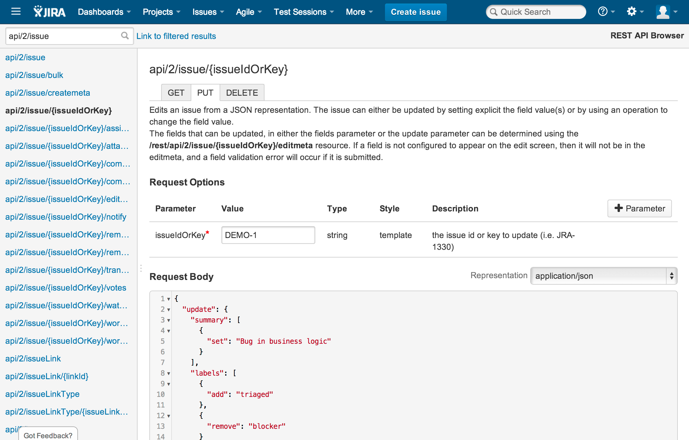 Atlassian REST API Browser 3