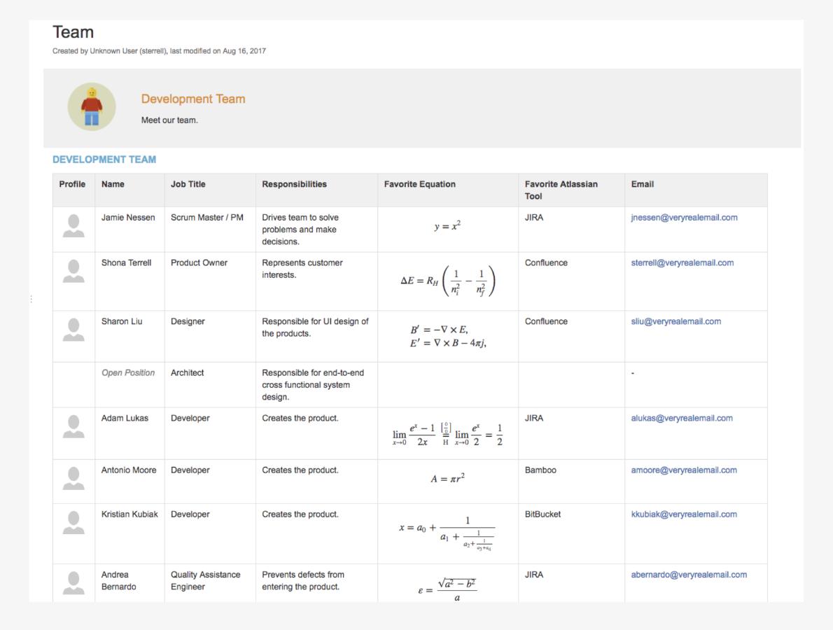 Macros de formatage du contenu pour Confluence 3