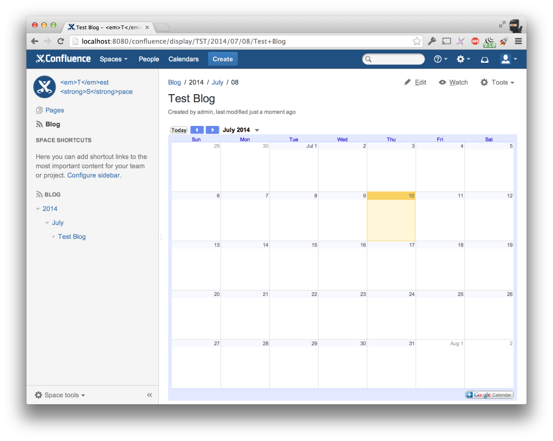 Google Calendar for Confluence 3
