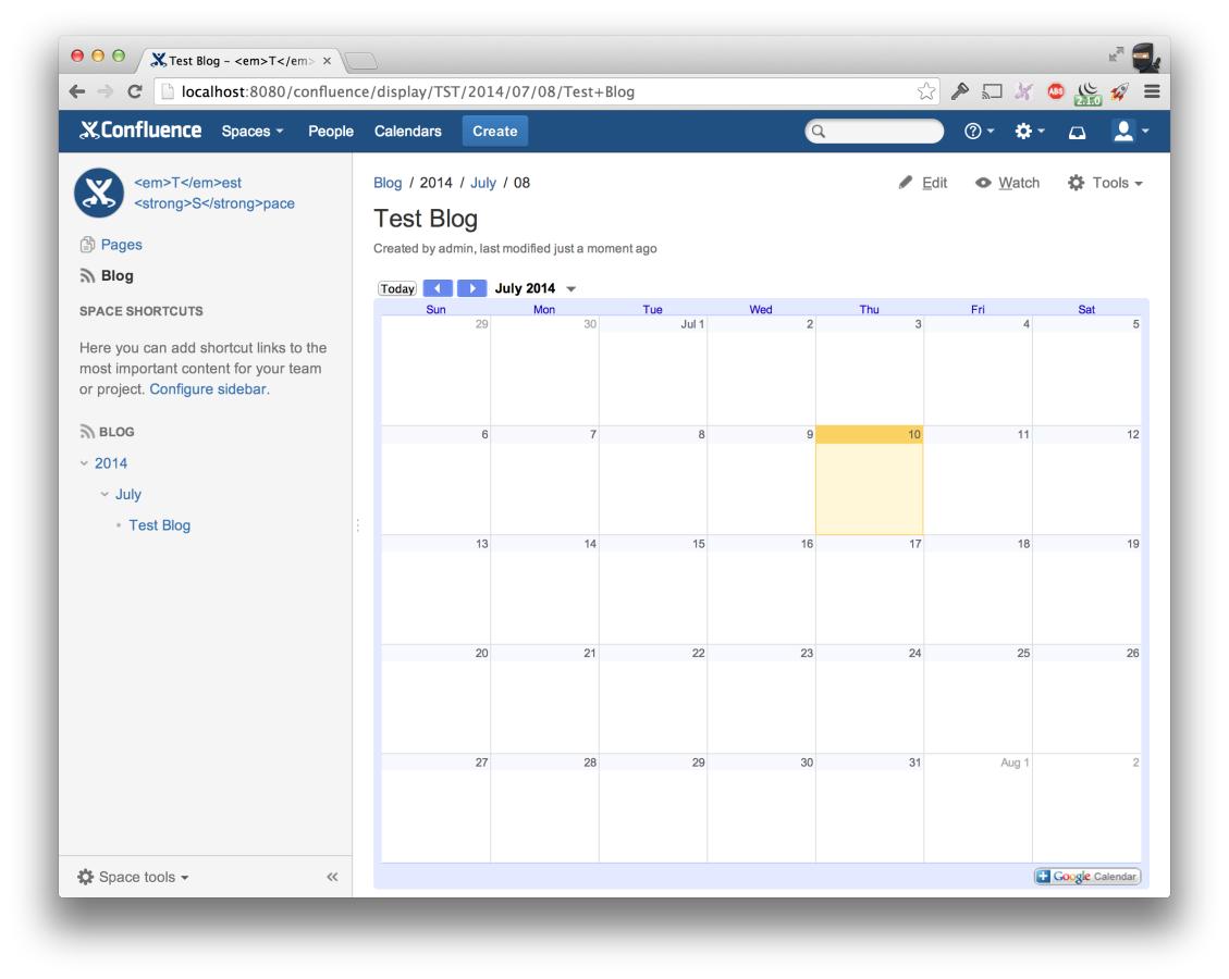 Google Calendar pour Confluence 3