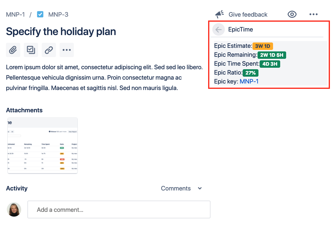 EpicTime for Jira - Sum of Worklogs 3