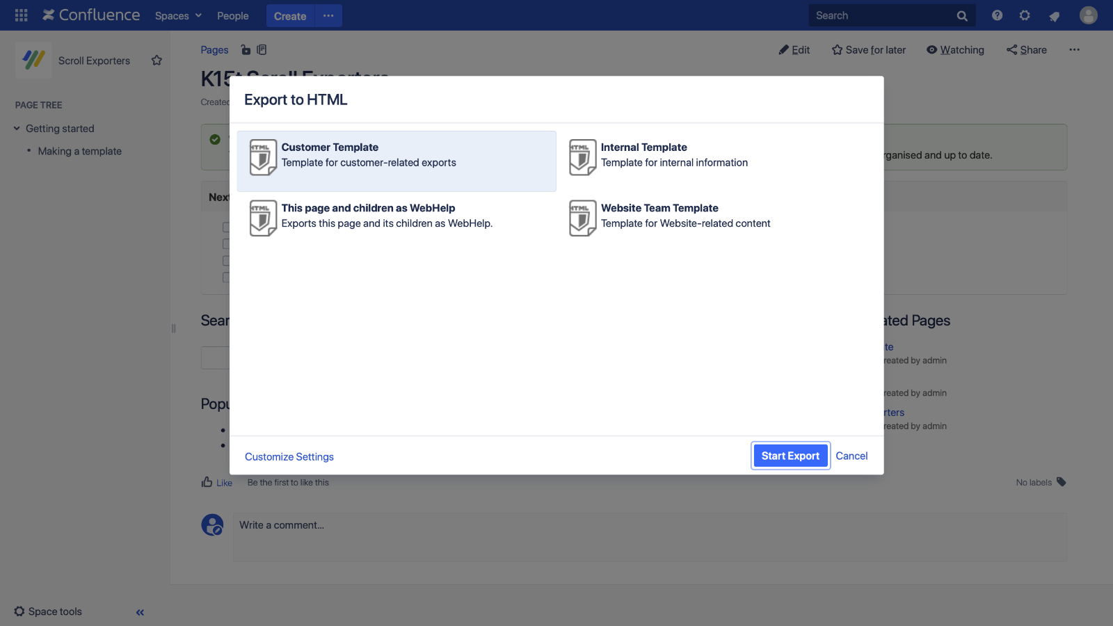 Scroll HTML Exporter pour Confluence