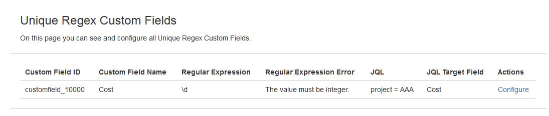 Unique Regex Custom Field